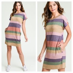 Dresses - Multi Color Striped Short Sleeve Dress with Pocket